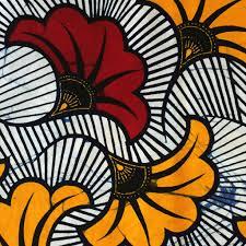 Tissu Wax - Fleurs de mariage - Bordeaux / Orange x20cm - Perles & Co